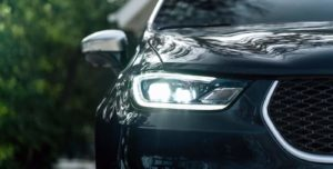 The 2021 Chrysler Pacifica front headlights.
